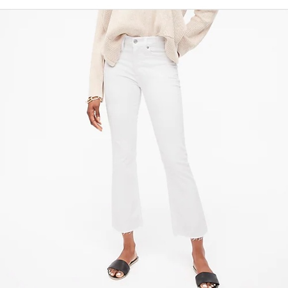 "J.Crew 9"" Demi-Boot Crop Jean in White 27"